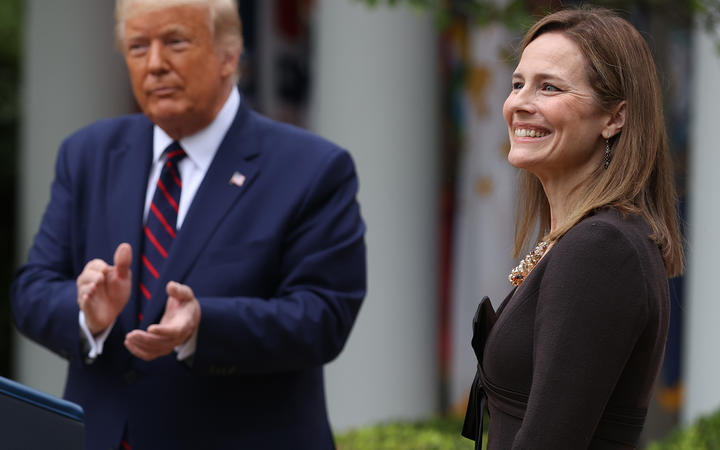 US President Donald Trump announces Amy Coney Barrett as his nomination for the Supreme Court.