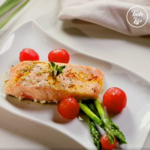 Salmon In Pappiotte With Asparagus Cherry Tomatoes