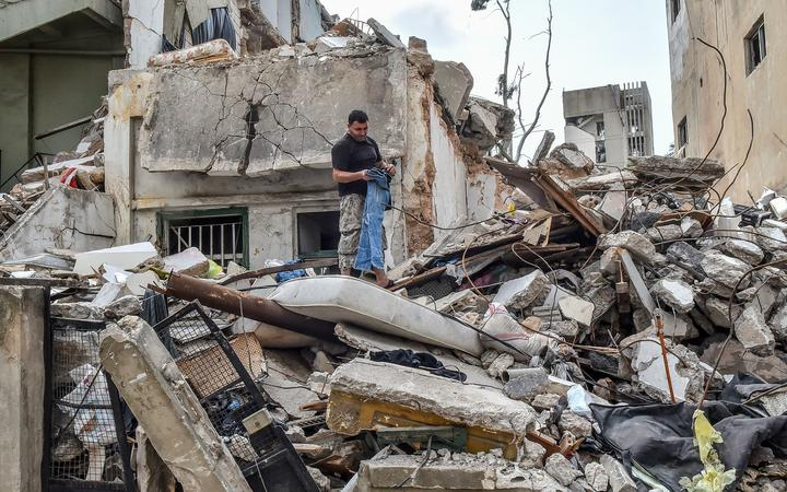 Damaged buildings near the port, pictured on August 12, 2020 in Beirut, Lebanon. Over 200 people died in the explosion on 4 Aug. Officials said a waterfront warehouse storing explosive materials, reportedly 2,700 tons of ammonium nitrate, was the cause of the blast.
