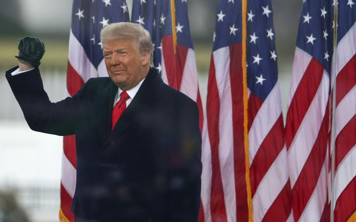 """WASHINGTON, DC - JANUARY 06: President Donald Trump arrives at the """"Stop The Steal"""" Rally on January 06, 2021 in Washington, DC."""