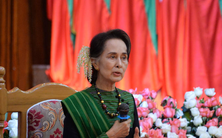 Myanmar's State Counselor Aung San Suu Kyi speaks during a meeting with citizens as part of 68th Kayah State Day anniversary events in the state capital Loikaw on January 15, 2020.