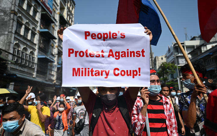 Protesters in Yangon in one of the largest rallies yet against the coup in Myanmar.