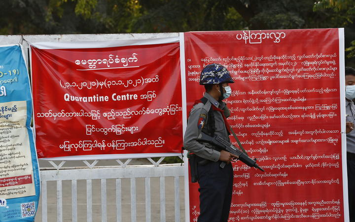 Myanmar's military stand guard at around Sin Bin Guest House in Naypyitaw, Myanmar.