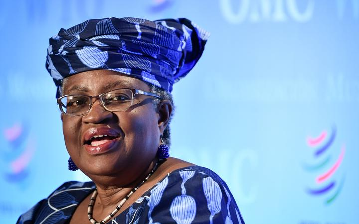 Nigerian former Foreign and Finance Minister Ngozi Okonjo-Iweala attends a press conference on July 15, 2020, in Geneva, following her hearing before World Trade Organization 164 member states' representatives